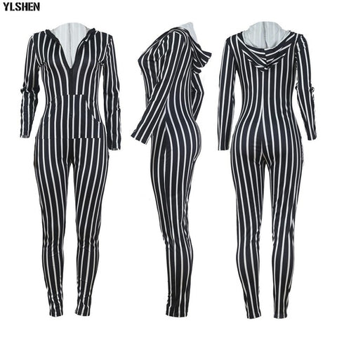 Sexy Stripe Hooded Rompers