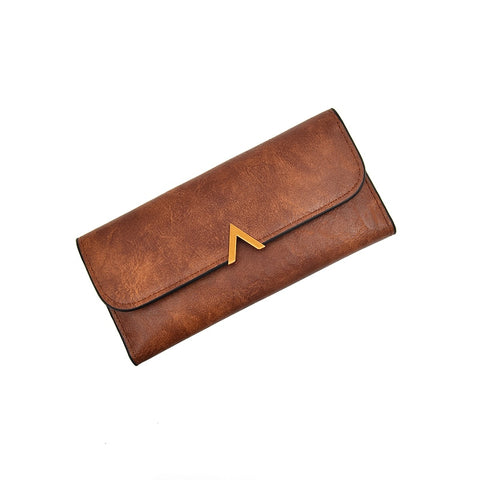 Vintage Leather Hasp With V Letter Zipper Clutch
