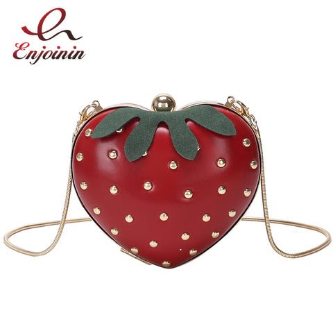 Cute Strawberry Heart Shape Rivet Mini Chain Purse