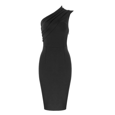 Sexy New Black Apricot Bandage One Shoulder Dress