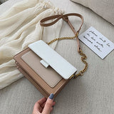 Small Designer Fashion Panelled Chain Crossbody Wide Strap Flap Purses