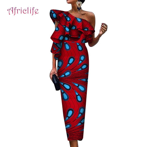 Irregular Collar Sexy African Print  Party Dress