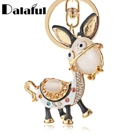 Enamel Donkey Crystal Key Chains