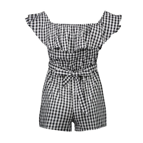 Sexy Woman Fashion Off Shoulder Plaid Ruffles Rompers