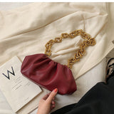 Gold Chain Leather Shoulder Bag Cloud Dumpling Shape