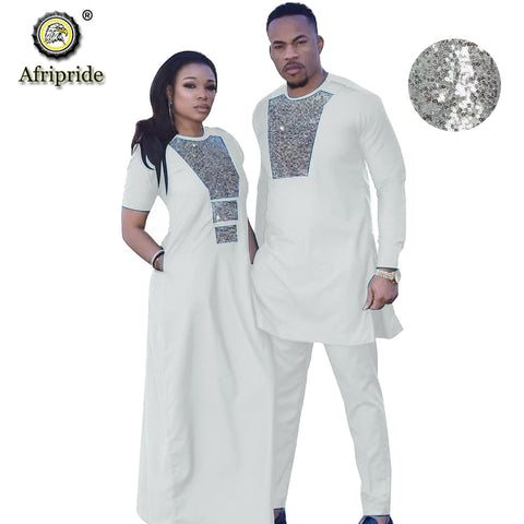 Couple Outfit Women Dress + Men Suit Dashiki Print Dress Shirts