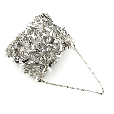 Silver Beaded Chains Sequine Tassel Shoulder Clutch Purse