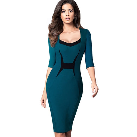 Elegant Contrast Color Square Neck Dresses