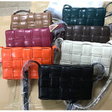 26cm Luxury Designer High Quality Leather Woven Plaid Handbags