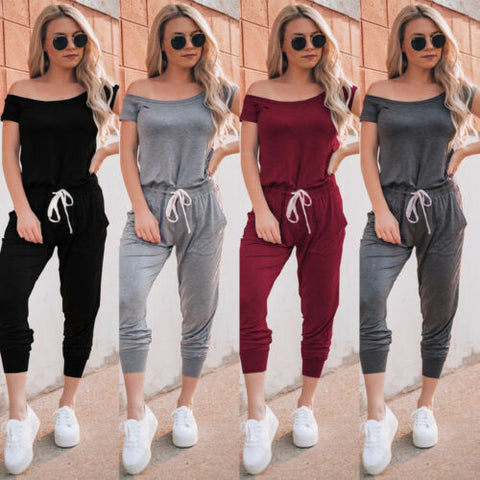 Women's Casual Off Shoulder Jumpsuit Romper