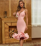 Hot Sexy V Neck Backless Ball Gown Pink Summer Evening Party Dress