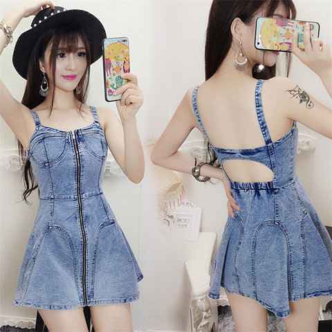 Hot Sexy Backless Hollow Out Denim Dress