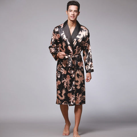 Men Silk Summer Golden Dragon Knee Length Bath Robe