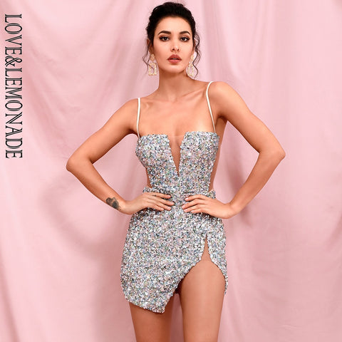 Sexy Tube Top Silver Sequin Party Mini Dress