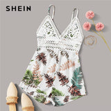 Multicolor Tie Back Lace Detail Tropical Slip Romper