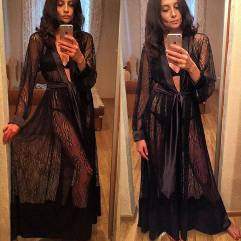 Sexy Black Lace Fancy Long Robes
