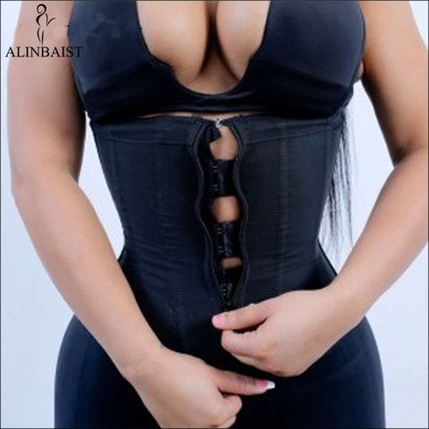 Slimming Black Latex Waist Trainer Body Shaper Corsets with Zipper Cincher Corset Top Plus Size