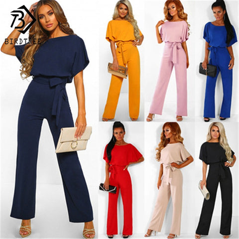 7 Colors Plus Size 3XL Classic Solid Lace Up Back Jumpsuit