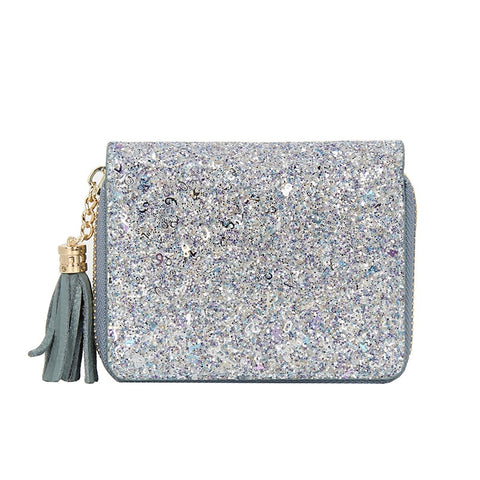 Sparkling Genuine Leather Glitter Tassel Clutch