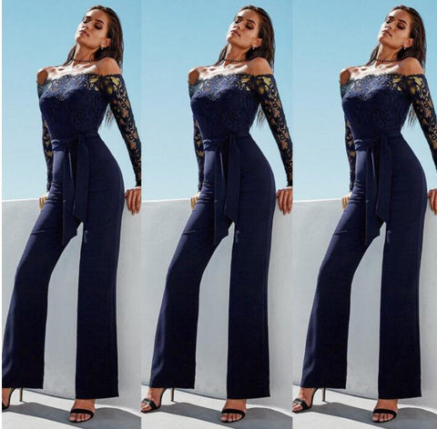 New Sexy Lace Sleeve Trousers Jumpsuits