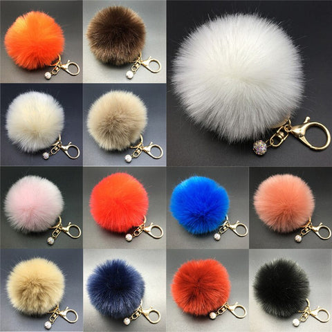 Stylish And Stylish Fluffy Artificial Rabbit Pom Pom Key Chain