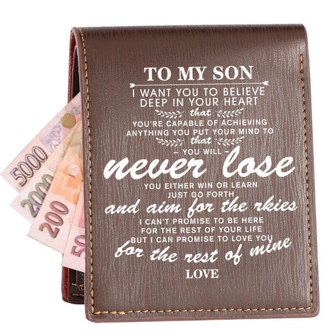 """TO MY Son""-Custom Wallet Bifold Leather Men multifunction Money Clip Gifts"
