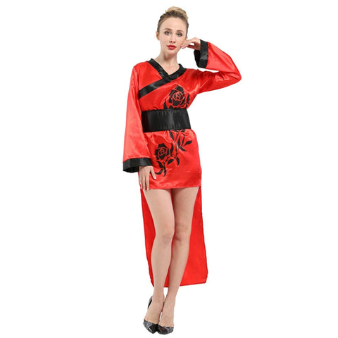 Fancy Red Traditional Japanese Kimono Party Robe
