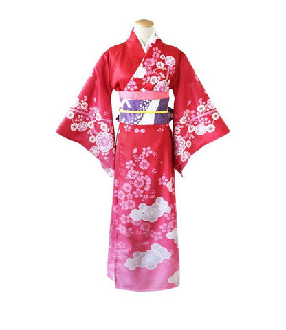 Sweet Traditional Floral Anime Wraped Robe Kimono