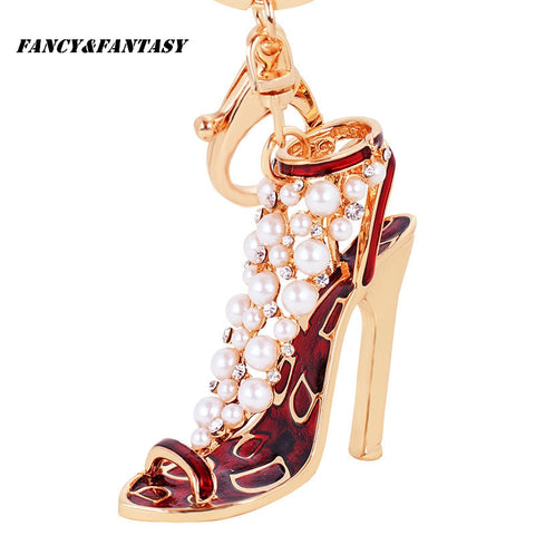 New Fancy&Fantasy High-Heel Shoe Studded With Pearl Keychain