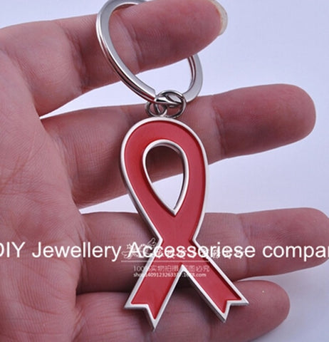Red Ribbon Key Chains Breast Cancer Bowknot Keyring