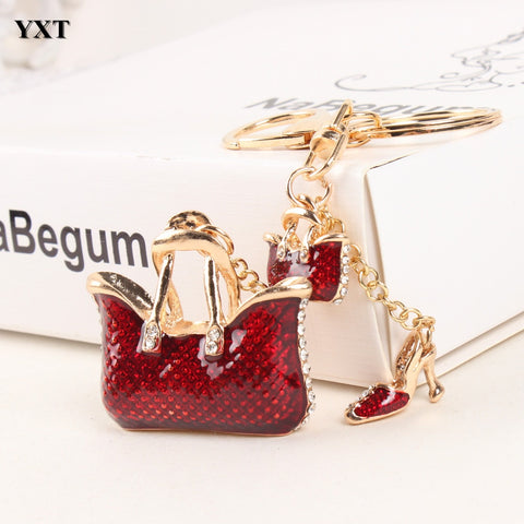 New Cute Red High Heel Shoe Rhinestone Crystal Key Chain