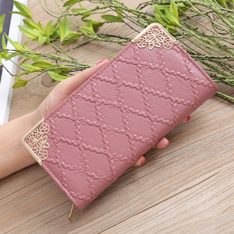 Long Embossed Sweet Clutch Wallet Multi-card Purse
