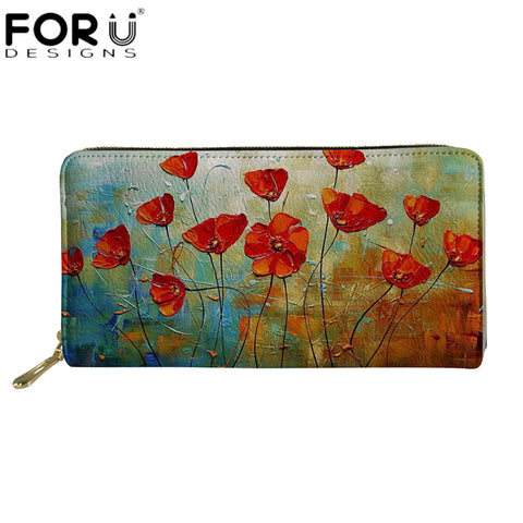 Zestfully Colorful Floral 3D Printed Leather Wallet