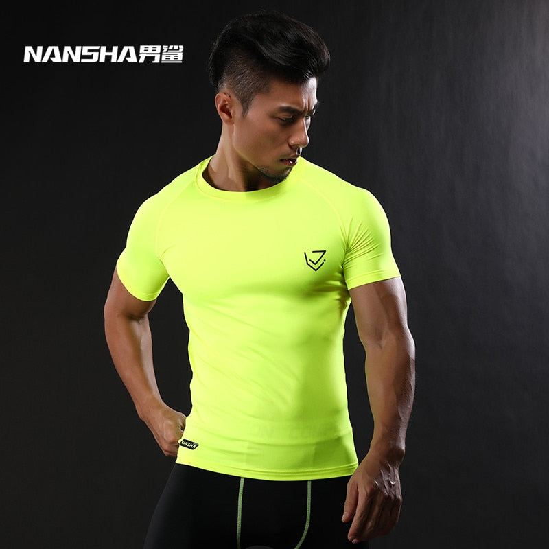 2017 NANSHA Brand Compression Shirt Short Sleeves T-shirt Gyms Fitness Clothing Solid Color Quick Dry  Crossfit Lycra Tops - ShopTug