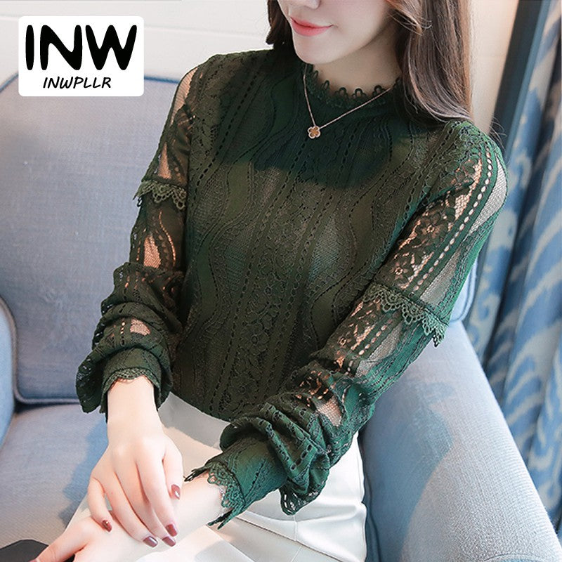 New Arrival Women Tops Fashion Green Lace Blouse Autumn Long Sleeve Plus Size Shirts Hollow Out Renda Blusas Femininas - ShopTug