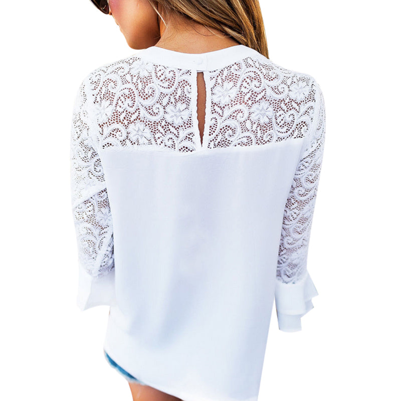 Summer Women Top Long Sleeve Elegant White Lace Blouse - ShopTug