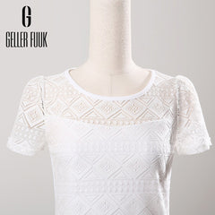 Women Clothing Chiffon Blouse Lace Crochet Female - ShopTug