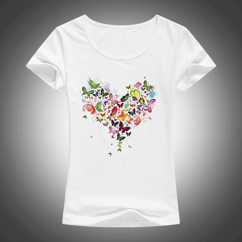 2017 summer Heart shape colorful butterfly t shirt women beautiful spring summer shirt brand fashion shirt cool tops F05 - ShopTug