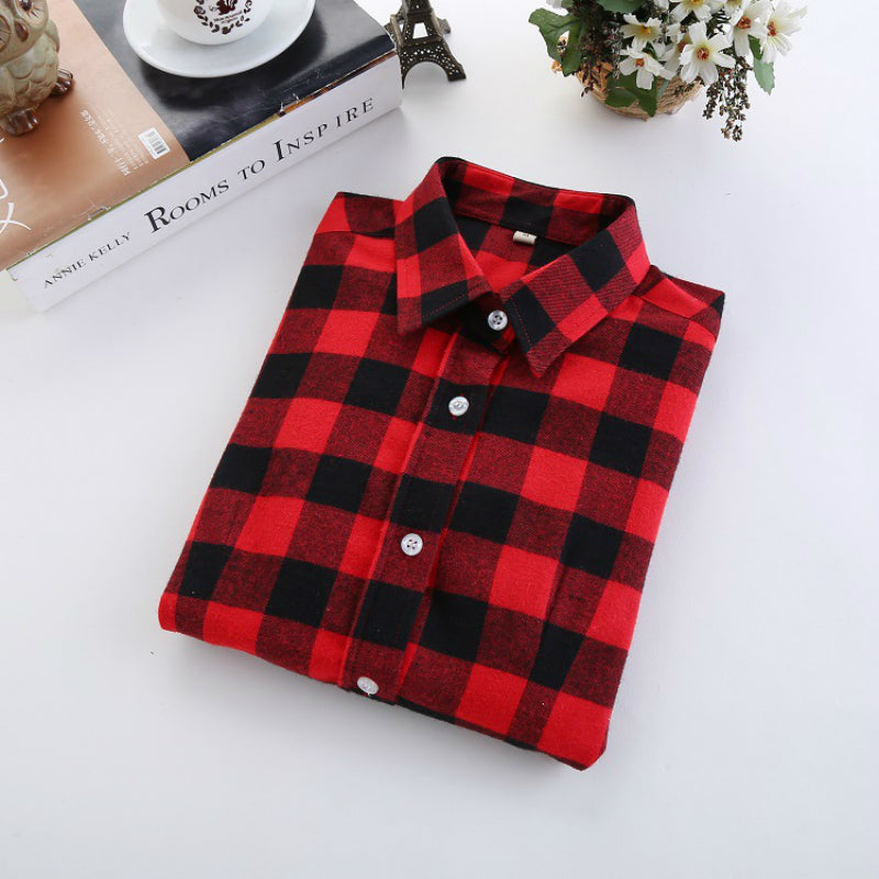 2018 Fashion Plaid Shirt Female College Style Women's Blouses - ShopTug