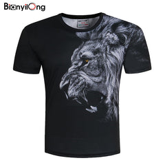 New Fashion Men/Women T-shirt 3d lion Print - ShopTug