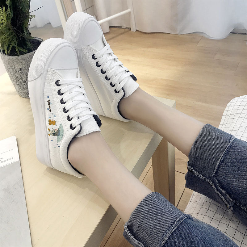 Breathable Cute Hand Painted Platform Sneakers Canvas Shoes - ShopTug