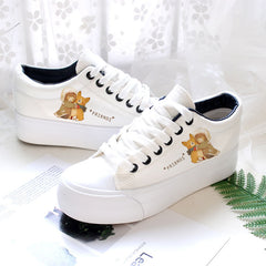 Breathable Cute Hand Painted Platform Sneakers Canvas Shoes