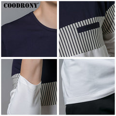 COODRONY T-Shirt Men 2018 Spring Autumn New Long Sleeve O-Neck T Shirt Men Brand Clothing Fashion Patchwork Cotton Tee Tops 7622 - ShopTug