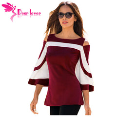 DearLover Women Blouse Black White Colorblock Bell Sleeve Cold Shoulder Top Mujer Camisa Feminina Office Ladies Clothes LC250605 - ShopTug