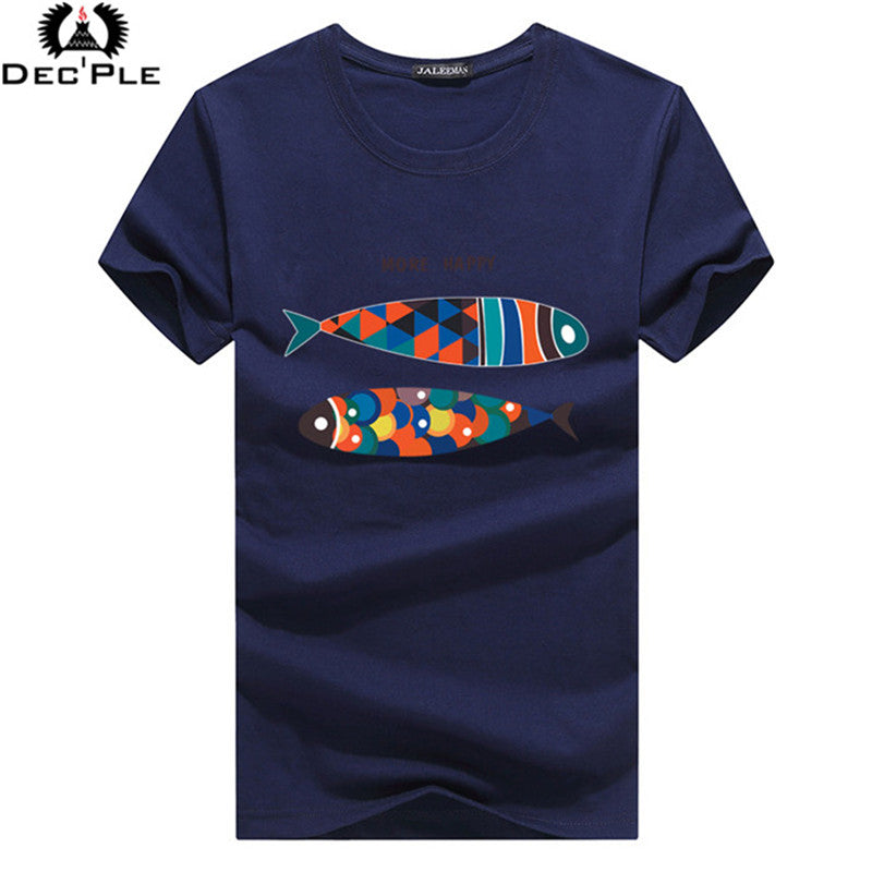 Dec'ple 5XL Men O-neck T shirt 2017 Summer fashion Printed pattern mens slim t shirt Plus size casual cotton t shirt men for boy - ShopTug