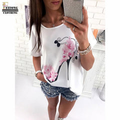 FEITONG 2017 Women Short Sleeve High Heels Printed Tops Beach Casual Loose Blouse Top  Shirt - ShopTug