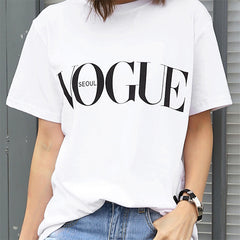 Fashion Summer Girl Short Sleeve Tops Clothes for Women VOGUE Letter Printed Harajuku T Shirt Red Black female T-shirt Camisas - ShopTug