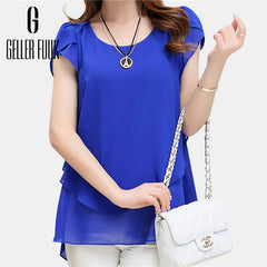 Geller Fuuk New 2017 Summer Women Blouse Loose Shirt O-Neck Chiffon Blouse Female Short Sleeve Blouse Plus Size 5XL Shirts #G305 - ShopTug