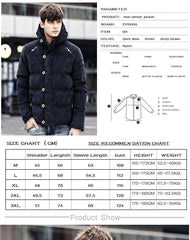 Men Winter Jacket Coat | Padded Windproof Thick Warm