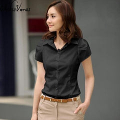 High Quality Fashion Womens short-Sleeve Chiffon Shirt Turn-Down Collar Casual Loose Female Tops Women Blouse - ShopTug